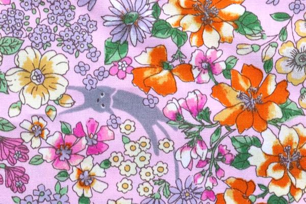凄安! コットンブロード フラワープリント ネコと花 ピンク地