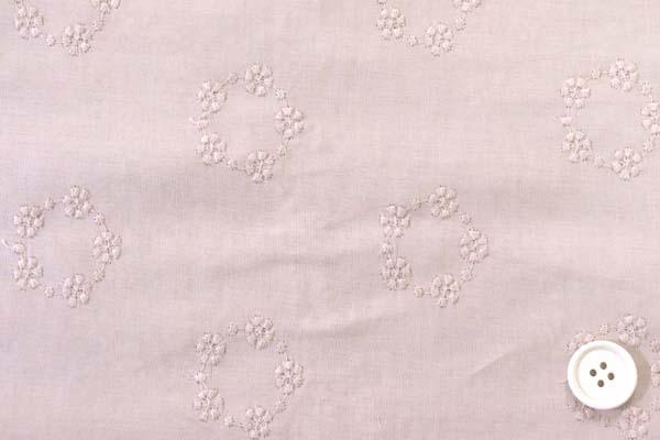清楚で可愛い 綿ローンレース フラワーリース くすんだピンク