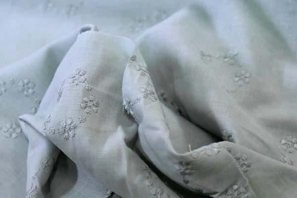 清楚で可愛い 綿ローンレース フラワーリース グレー