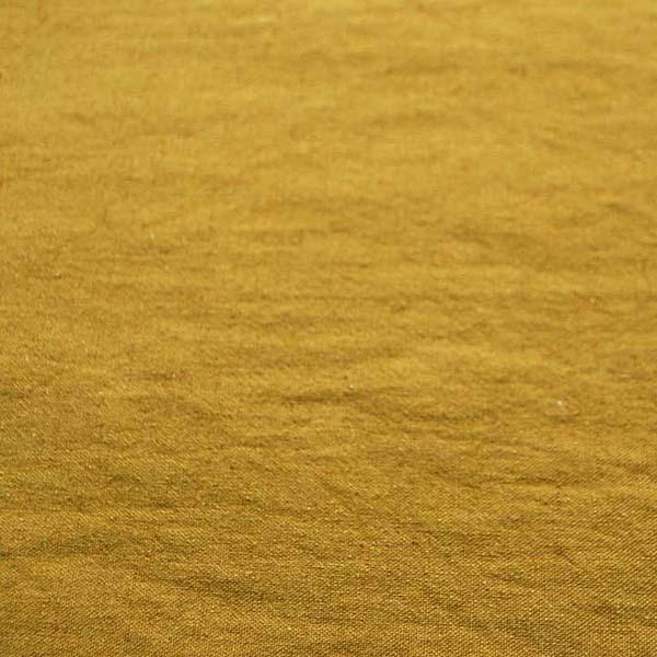 柔らかくて適度な厚さのある 綿麻キャンバス ワッシャー(洗い)加工 からし