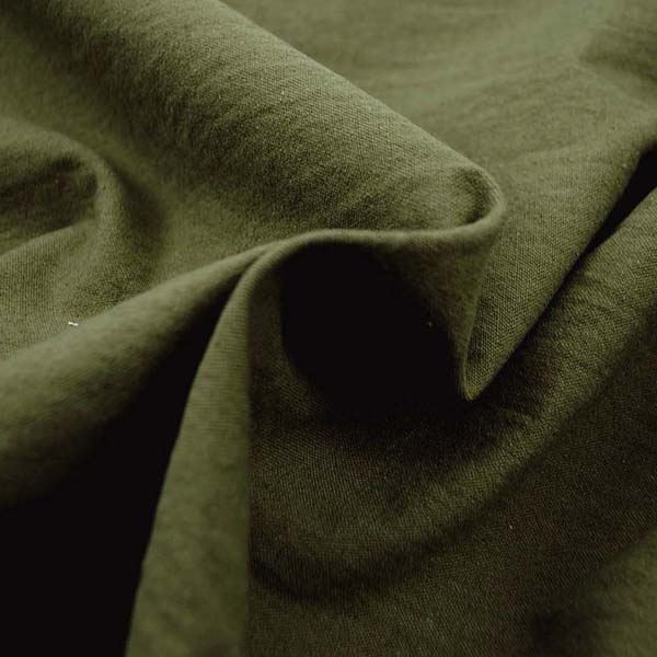 柔らかくて適度な厚さのある 綿麻キャンバス ワッシャー(洗い)加工 カーキグリーン