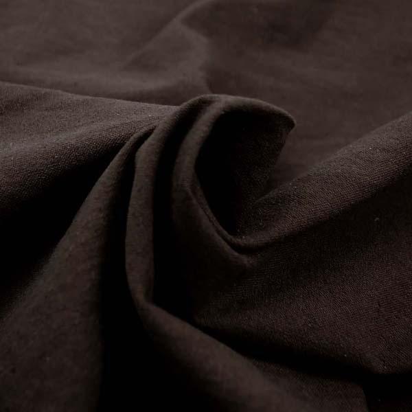 柔らかくて適度な厚さのある 綿麻キャンバス ワッシャー(洗い)加工 こげ茶