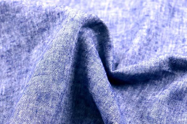 ベルギープルミエルリネン使用 ワッシャー加工のハーフリネンダンガリー 紺×オフ