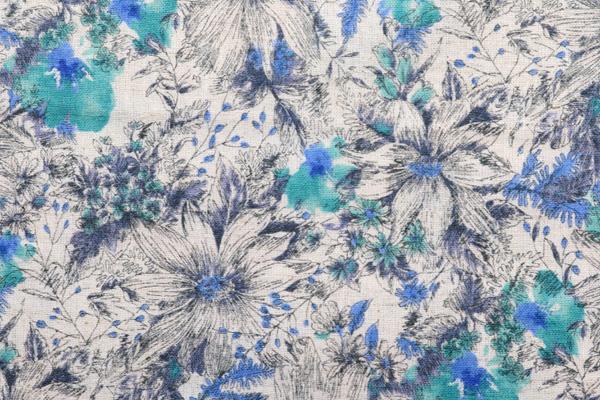 エンジェルソフト加工 綿麻シーチングプリント 北欧の花 ピンクの花弁