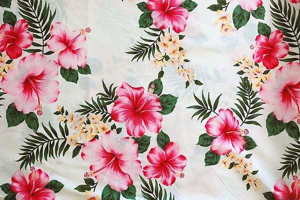大人気のハイビスカス柄 アロハシャツ・ムームー・ダンス衣装生地 白色地(2150-01)