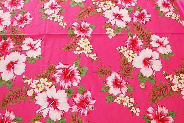 大人気のハイビスカス柄 アロハシャツ・ムームー・ダンス衣装生地 ピンク色(2150-02)