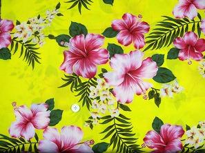 大人気のハイビスカス柄 アロハシャツ・ムームー・ダンス衣装生地 黄色(2150-04)