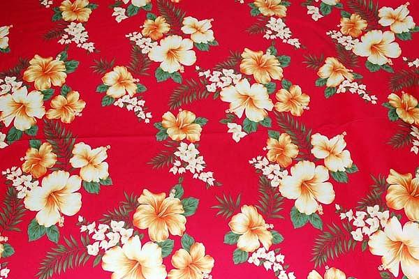 大人気のハイビスカス柄 アロハシャツ・ムームー・ダンス衣装生地 赤色(2150-05)