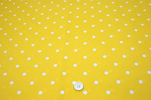 撥水ナイロン水玉顔料プリント生地(黄色地×白10mm)