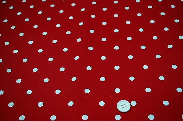 撥水ナイロン水玉顔料プリント生地(赤地×白10mm)
