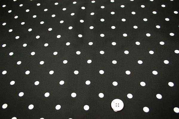 撥水ナイロン水玉顔料プリント生地(黒地×白10mm)