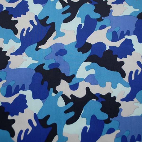 撥水加工のナイロンオックス 迷彩柄 ブルー系