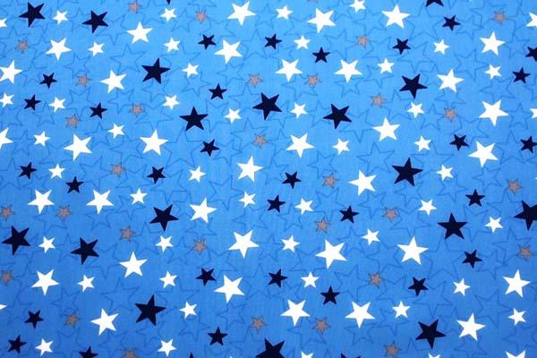 撥水加工のナイロンオックス 星 ブルー