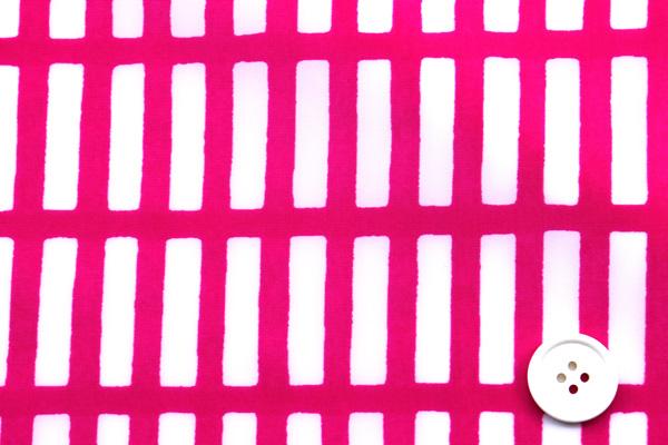 エコバッグや雨具に最適な 撥水加工のナイロンタフタ はじご格子 ショッキングピンク