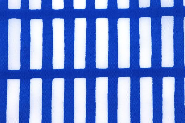エコバッグや雨具に最適な 撥水加工のナイロンタフタ はじご格子 ブルー