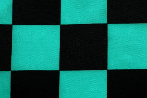 人気の和柄シリーズ 撥水加工のナイロンタフタ 市松格子 緑×黒