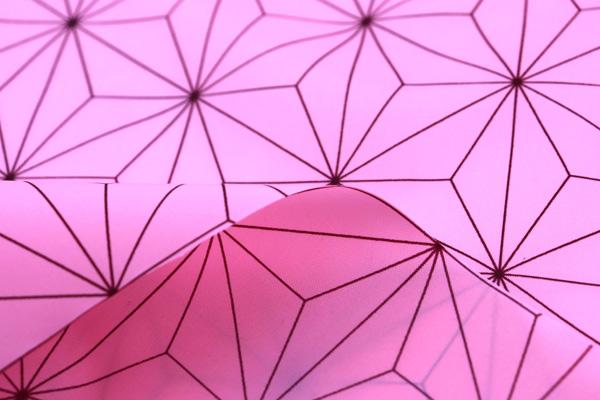 人気の和柄シリーズ 撥水加工のナイロンタフタ 麻の葉 くすんだピンク