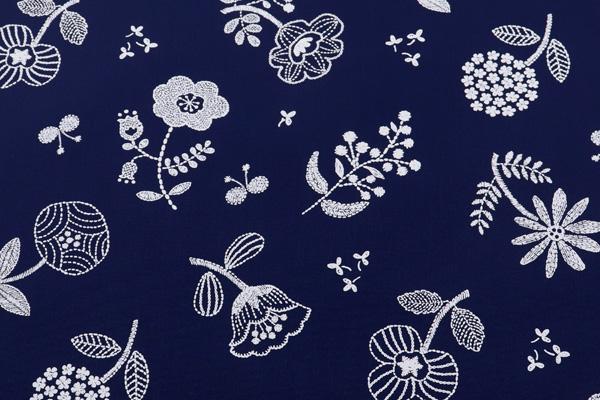 撥水加工 ナイロンオックスフォード 北欧の花 ネイビー地×ホワイト