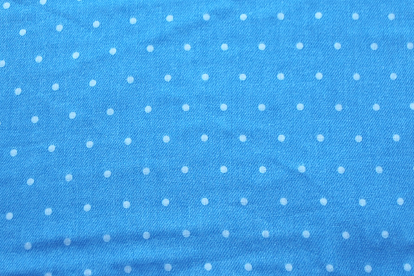 Wガーゼ(ダブルガーゼ) デニム調 水玉 ライトブルー