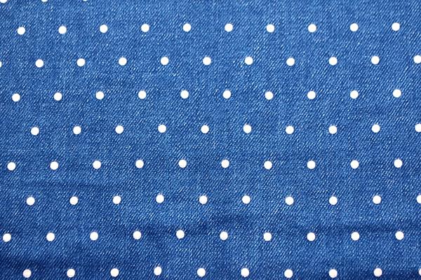 Wガーゼ(ダブルガーゼ) デニム調 水玉 ブルー