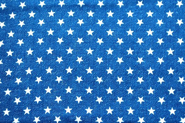 Wガーゼ(ダブルガーゼ) デニム調 星 ブルー