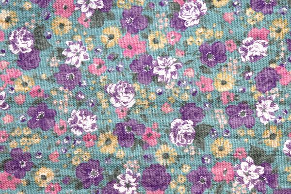 YUWAの綿麻キャンバス 小花プリント セージグリーン