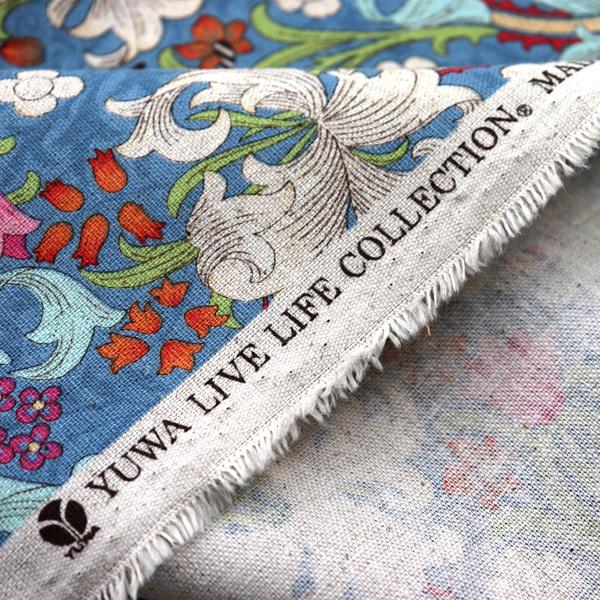 YUWAの綿麻キャンバス オリエンタルフラワー ウエッジウッドブルー