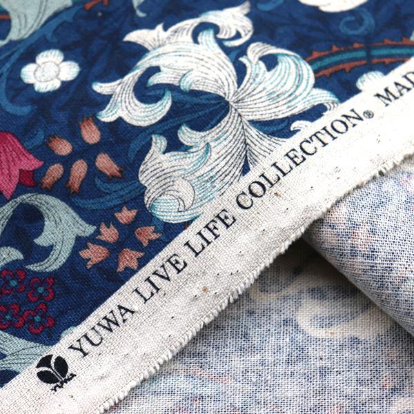 YUWAの綿麻キャンバス オリエンタルフラワー アイアンブルー