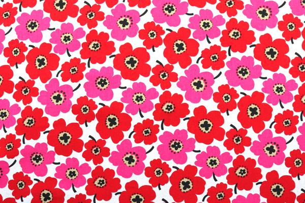 綿麻キャンバスプリント 北欧調の花柄(小) レット・ピンク系