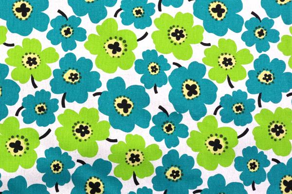 綿麻キャンバスプリント 北欧調の花柄(小) グリーン系