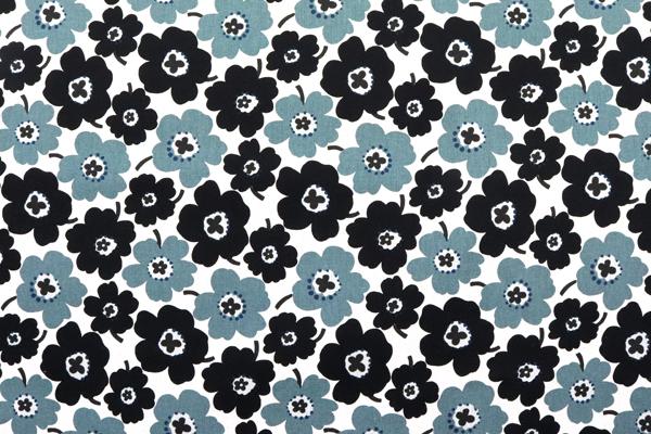 綿麻キャンバスプリント 北欧調の花柄(小) ブラック・グレー系