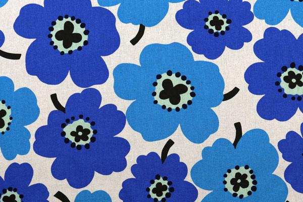 綿麻キャンバスプリント 北欧調の花柄(大) ブルー・ネイビー系