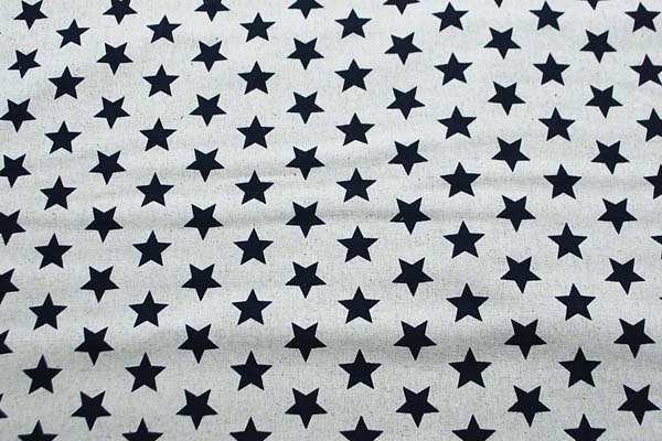綿麻キャンバス 星の柄 生成地にネイビー