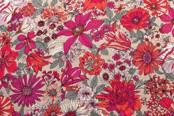 ルシアンの綿麻シャーティング メモアール・ア・パリ 薄いグレー地に赤系の花