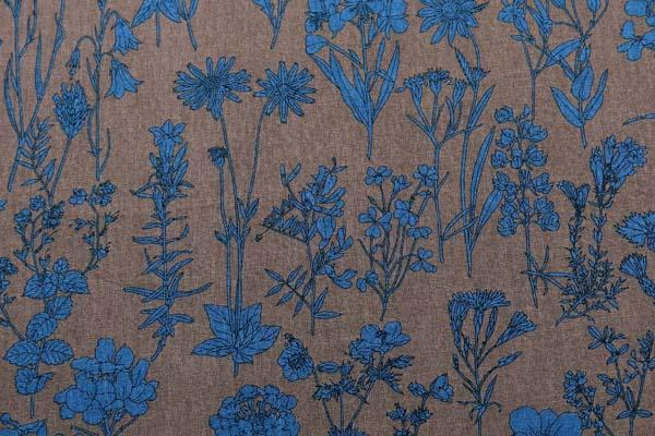 ルシアンの綿麻シャーティング メモアール・ア・パリ セピア地にサファイアブルー系の花