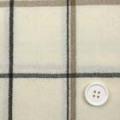 ウールチェック服地 クリーム地×黒とベージュのライン 【お値打ち】 【50cm販売】  (4129-643)