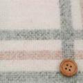 ウールシャギービックチェック服地 クリーム地×黒・黄土色 【お値打ち】 《値下げ》  (4134-89)