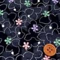 マルチカラー刺しゅうレース服地 ネイビー 【50cm販売】《お値打ち》  (4136-61)