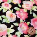 綿80ローンミラクルウエーブプリント生地 花柄 黒地×オレンジ (4137-36)