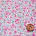綿80ローンプリント生地 小花柄 白地×ピンク・アイスブルー (4137-46)