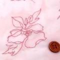 ボイルジャガードグリッターラメ生地 花柄 うすピンク地×ピンクラメ  (4138-08)
