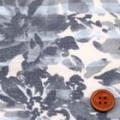 ストレッチバニラン淡彩プリント生地 花柄 クリーム地×ブルーグレイ  (4138-12)
