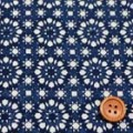 タイプラータークロスプリント服地 幾何柄 紺 《値打ち品》 (4138-17)