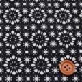 タイプラータークロスプリント服地 幾何柄 黒 《値打ち品》 (4138-18)