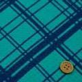 バスケットドビープリント服地 バイヤスチェック柄 グリーン地×紺 《値打ち品》 (4138-30)