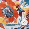 からみチェックコットンプリント服地 花柄 オフ白地×オレンジ・ブルー (4138-46)