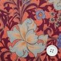 ピーチスキン更紗柄プリント服地 オレンジ系 【50cm販売】 (4139-74)