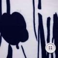ブライト線描き風プリント服地 オフ白地×濃紺 《値打ち品》 (4140-79)