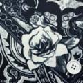 ストレッチパネルプリント服地 オフ白地×黒 【パネル販売】 《値打ち品》 (4140-85)