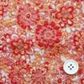 綿80ローンミラクルウエーブプリント生地  花柄 ピンク・赤 (4141-09)